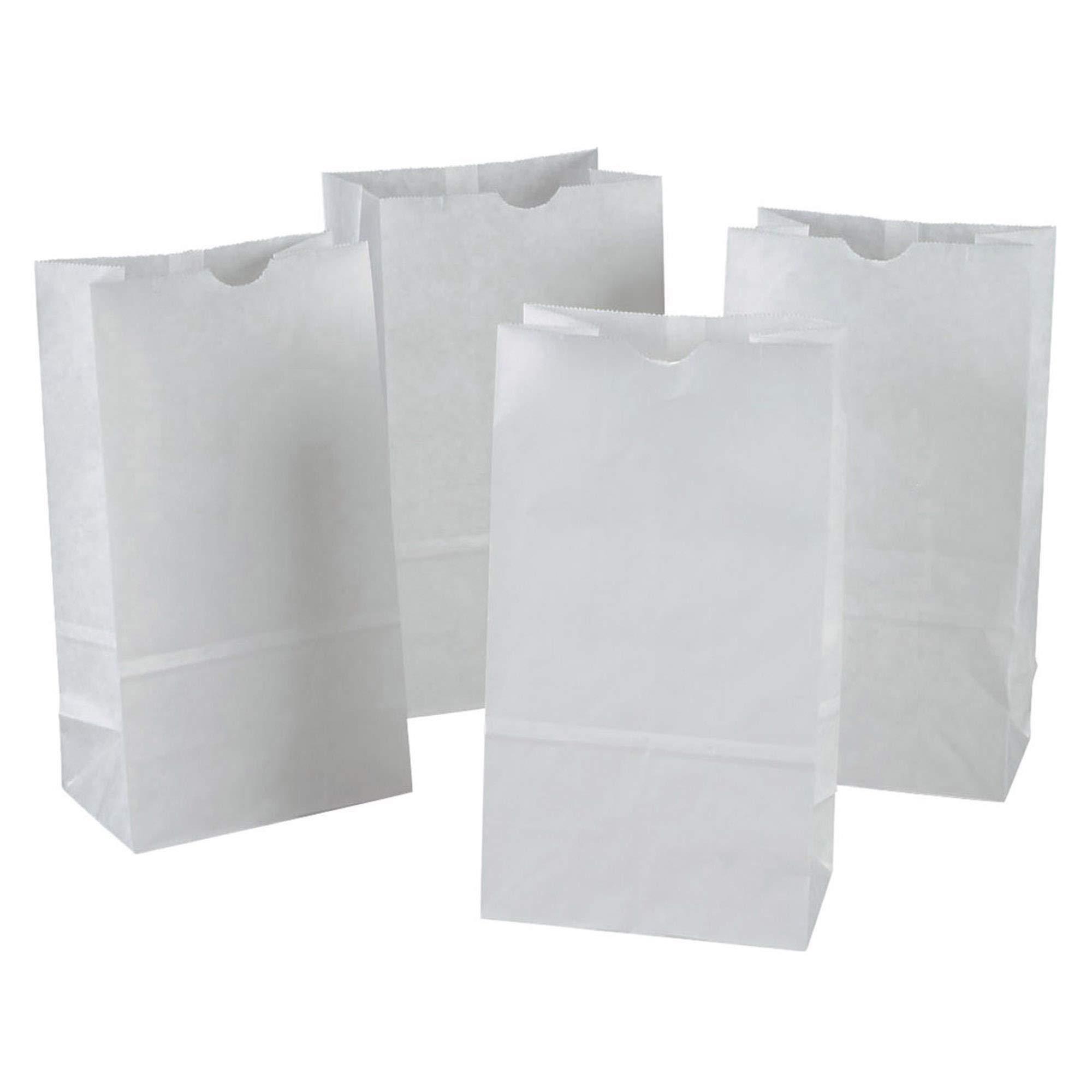Rainbow PAC72020 Kraft Bag, White, 6'' x 3-5/8'' x 11'', 100 Bags