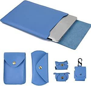 Moterm 12-Inch Leather Laptop Sleeve Cover for MacBook 12 Inches (5 in 1 Bundle, Blue)