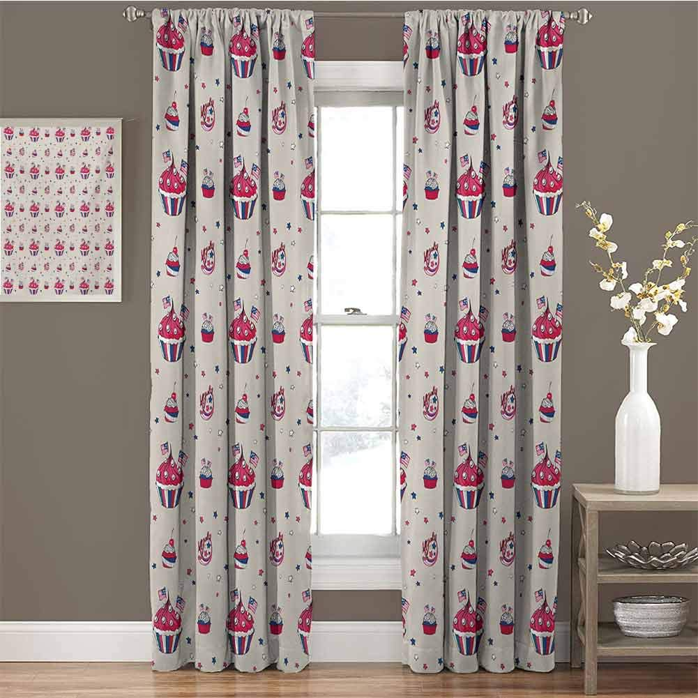 GUUVOR USA Room Darkened Curtain Cupcakes with National Flags Cute Cafe Yummy Homeland July Fourth Caricature Insulated Room Bedroom Darkened Curtains W54 x L63 Inch Beige Navy Blue Red by GUUVOR