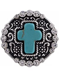 Interchangeable Snap Jewelry Rhinestone Snap Turquoise Blue Cross by