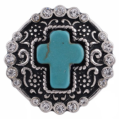 - Turquoise Blue Cross Rhinestone 18-20mm Interchangeable Snap Jewelry My Prime Gifts