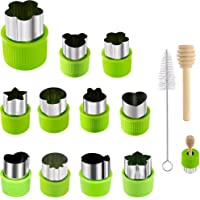 14 Pcs Fruit Vegetable Cookie Cutters Shapes Sets Stainless Steel Food Mini Pie Cookie Stamps Mold for Kids Baking,Bento…