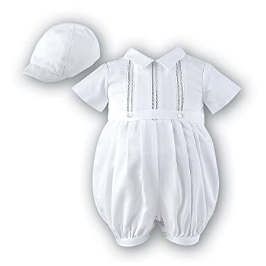 f46020d7 Sarah Louise Boys White Christening Baptism Romper Outfit with Hat 3M