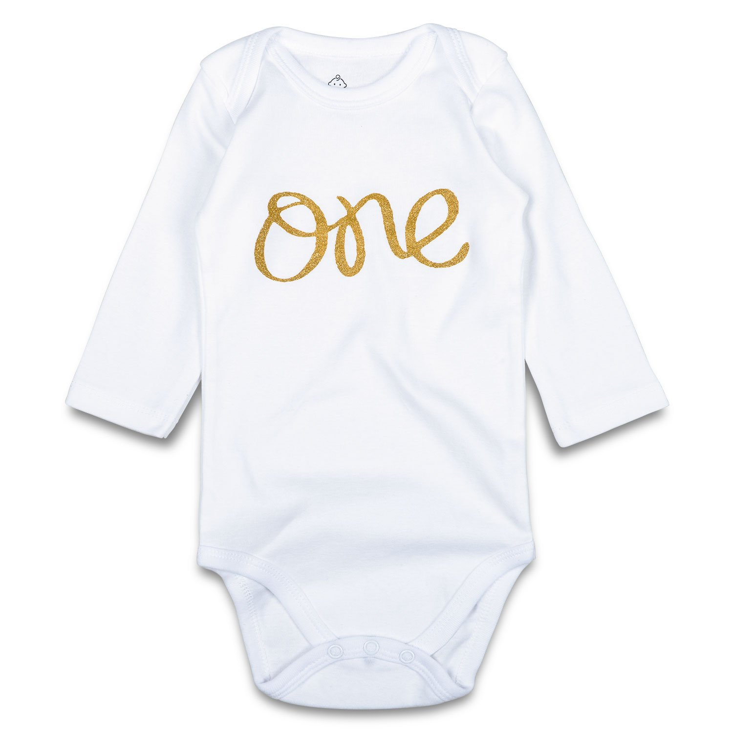 OPAWO Baby Girls Boys First Birthday Bodysuit Glitter Gold One 1st Birthday Outfit