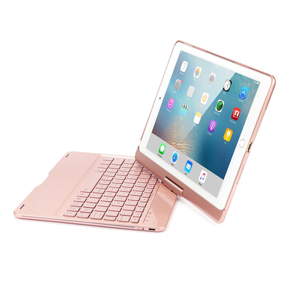 iPad Pro 10.5 Keyboard Case, KVAGO 360 Degree Rotatable Hard Shell Case with Backlit Wireless Bluetooth Keyboard for Apple iPad Pro 10.5 inch (Rose Gold)