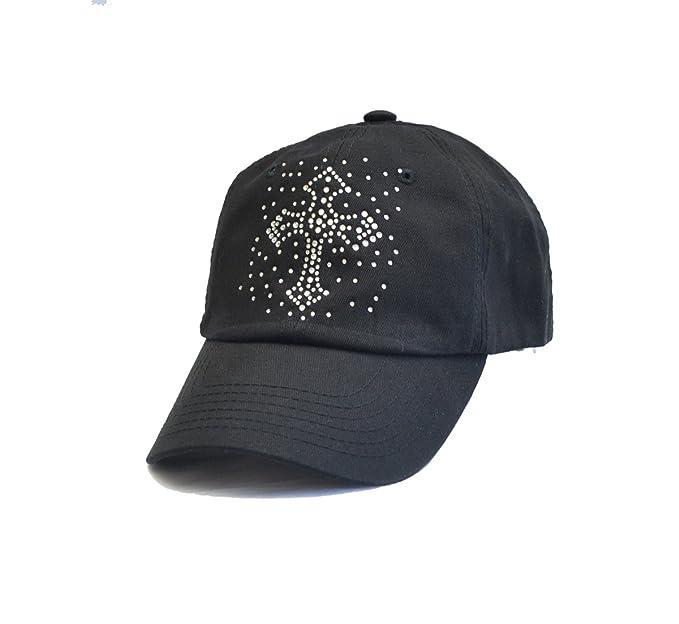 Bling Cross Rhinestone Black Baseball Visor Hat Cap at Amazon ... e93ee33556e