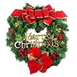 50cm Large Merry Christmas Rattan Berry Gold Leaves Flower Autumn Fall Wreaths for Front Door Wall Window Decoration Ornament for Wedding Party Holiday Festival Décor (Red & Green)