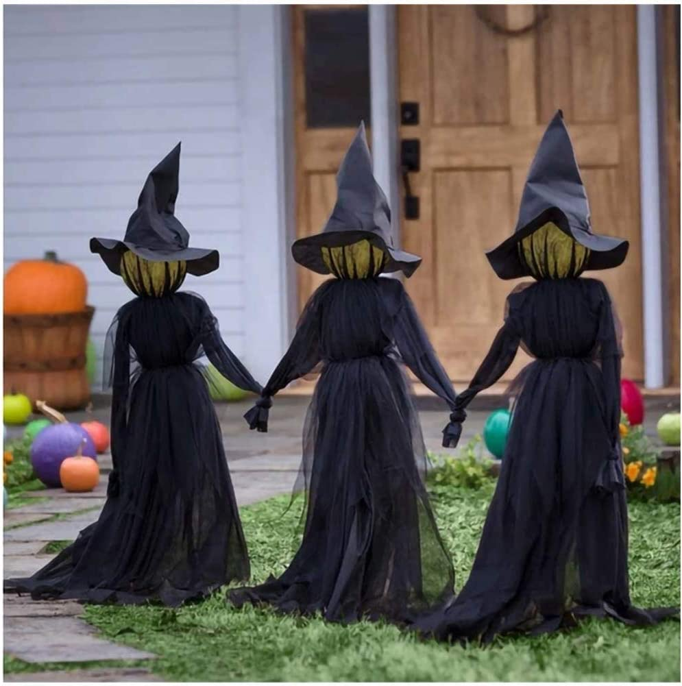 Herbests Holding Hands Witch Halloween Decorations, 3Pcs/Set Scary Creepy Light Up Witches with Glowing Faces and Voice Control, for Outdoor Halloween Haunted Prop Yard Decor