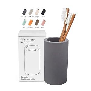 HouseSister Organic Diatomite Toothbrush Toothpaste Makeup Brushes Razors Holder Grey Bathroom Countertop Organizer Stand Cup Organizer (Dark Grey)