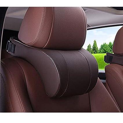 HomDSim Car Seat Neck Pillow Headrest Head Support Cushion Pad Memory Foam Soft Artificial Leather