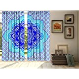 "Indian Ombre Mandala Window Curtain, Drape Panel, Scarf Valance, Tulle Sheer Voile Door Curtains Boho Set 84 x 80"" By Bhagyoday Fashions"