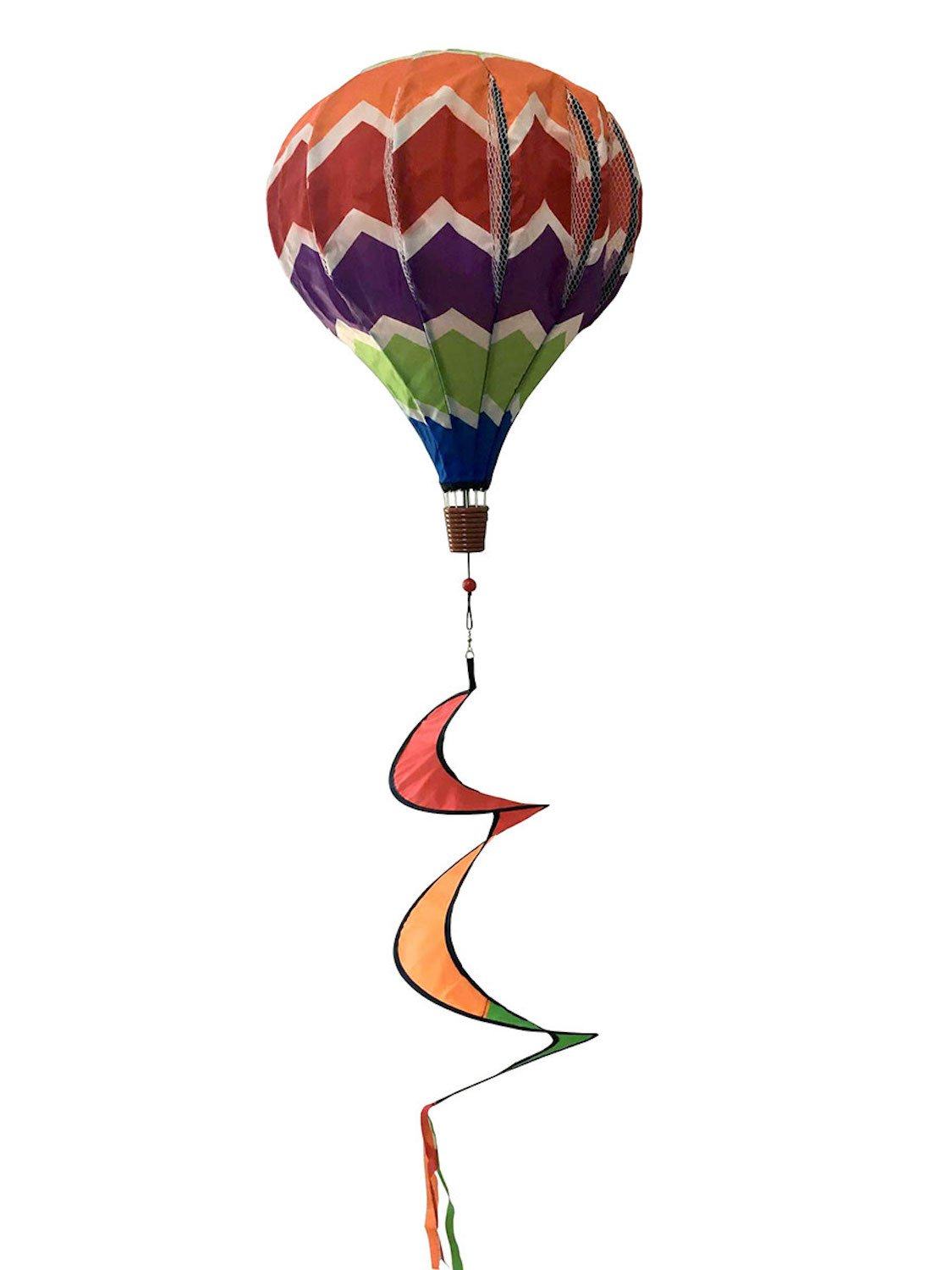Multi-Color Deluxe Hot Air Balloon Wind Twister Everyday 54''L Briarwood Lane