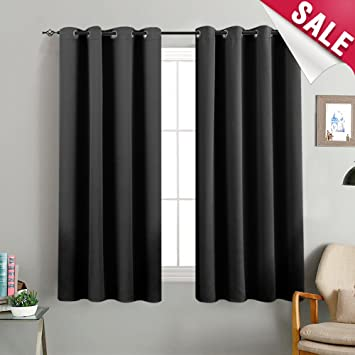 Amazoncom Black Blackout Curtains Bedroom 63 Inches Long Triple