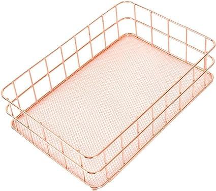 HKFV - Cesta de almacenamiento para la casa, cesta metálica color oro rosa, caja de malla vintage