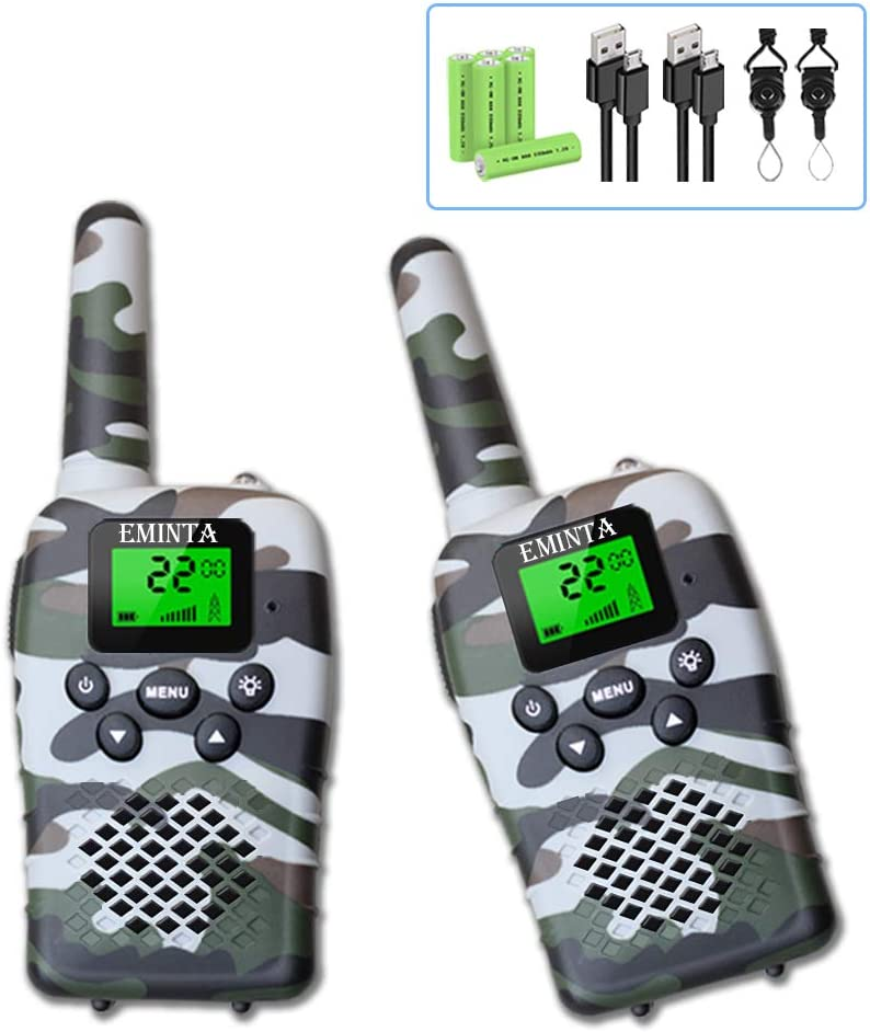 EMINTA Rechargeable Kids Walkie Talkies, 5 Miles Long Range 22 Channels 2 Way Radios with Flashlight LCD Screen VOX, 2020 Best Toys for Boys Girls Outdoor Adventure (Camo Gift Box)