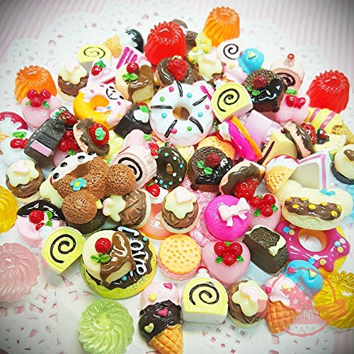 Coolrunner Mixed Food Resin Flatback Kawaii Cabochons Decoden (60)