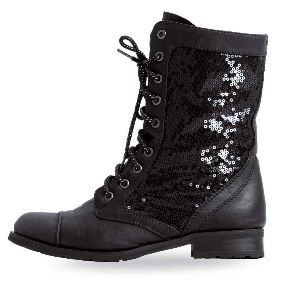Gia Mia Dancewear Women's Sequin Combat Boot B00OJDAZY0 8 B(M) US|Black