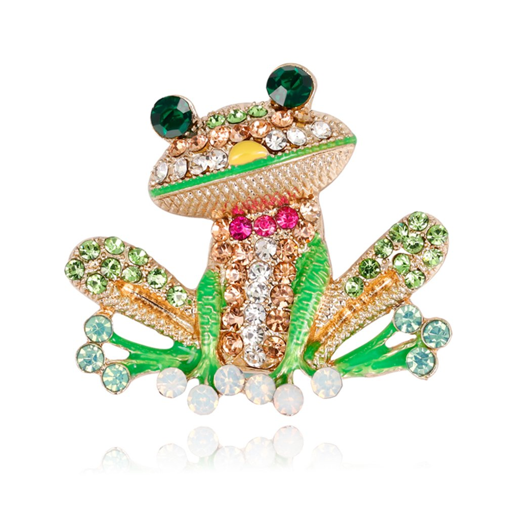 Mimgo Frog Brooch Pins For Women Men Jewelry Costume Gifts Enamel Rhinestone Colorful