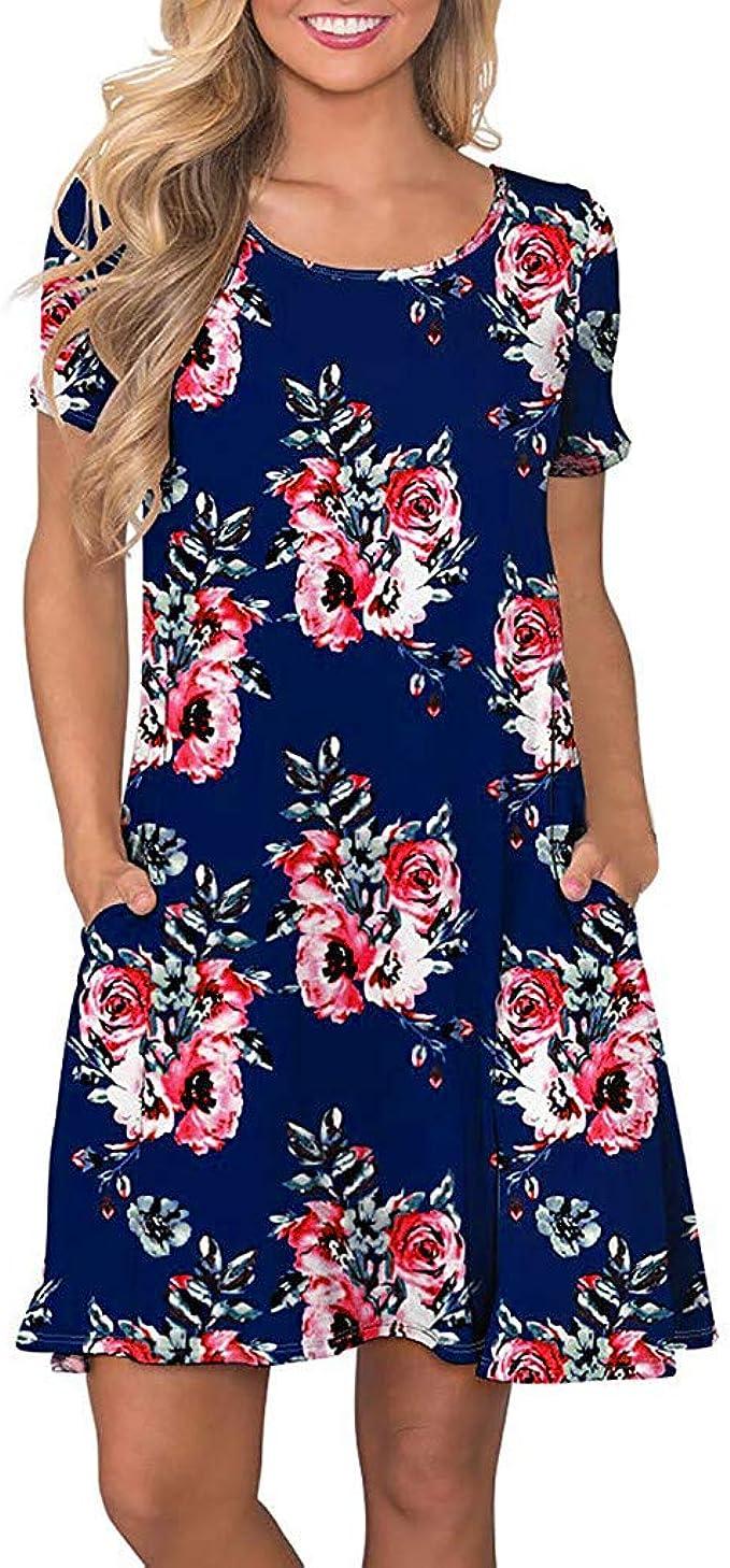 Zegeey Damen Kleid Sommer Kurzarm Floral Bedruckte Taschen Swing