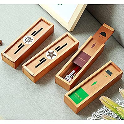 RedSonics(TM) Wooden Pencil Box Student Stationery Retro Stationery Storage Organizer Student Pencilcase Desktop Office Pencil Boxes