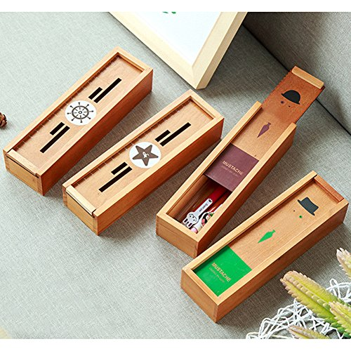 RedSonics(TM) Wooden Pencil Box Student Stationery Retro Stationery Storage Organizer Student Pencilcase Desktop Office Pencil ()