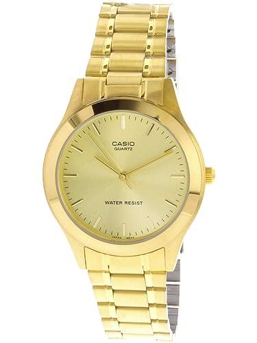 Gold Watch White Tone 9a Mtp1128n With Casio Quartz Men's Dial 53RLjqc4A