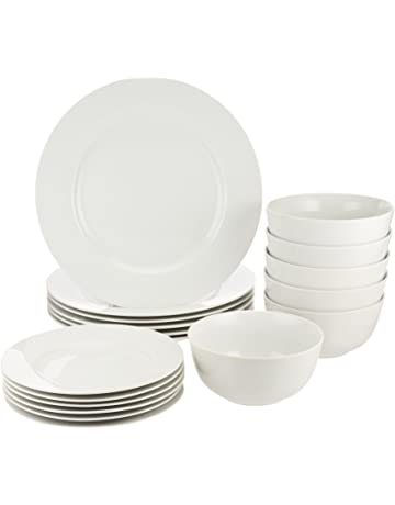 957eba75392a AmazonBasics 18-Piece Dinnerware Set, Service for 6