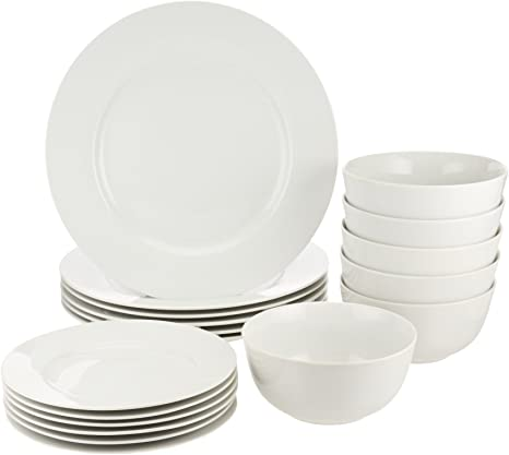 Amazon Com Amazon Basics 18 Piece Kitchen Dinnerware Set Dishes Bowls Service For 6 White Kitchen Dining