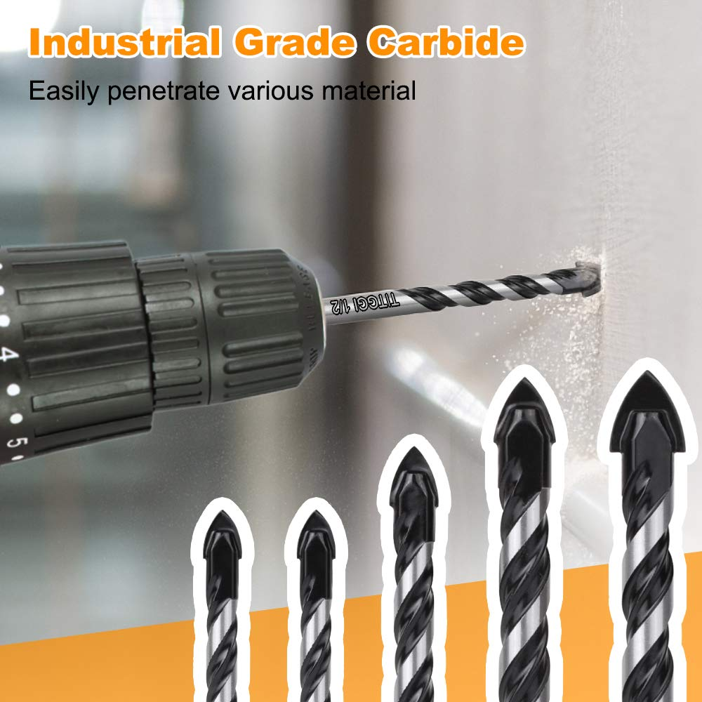 "Concrete Drill Bit & Masonry Drill Bit Set, Professional Drill Bit Set (5PCS) for Glass/Brick/Plastic/Cement/Wood/Tile/Etc, Industrial Strength Carbide Drill Bit Tip, 1/4""-1/2"" by TITGGI: Industrial & Scientific"