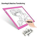 Light Pad Drawing A4 Tracing Light Table NXENTC LED Copy Board Ultra-Thin Display Pad Brightness Adjustable Stencil Artist Art Tracing Tatto Table Pink
