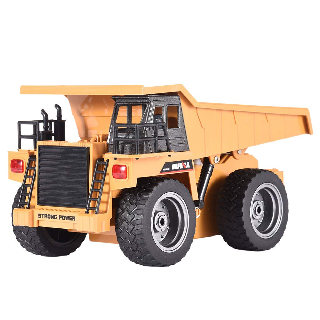 Rigel7 HuiNa Toys 1540 RC Remote Control Construction Dump Wheel Driver Toys 1/18 2.4G 6CH Metal Dump Truck Engineering Vehicle RC Car Gift for Kids, Toddlers Old Boys and Older