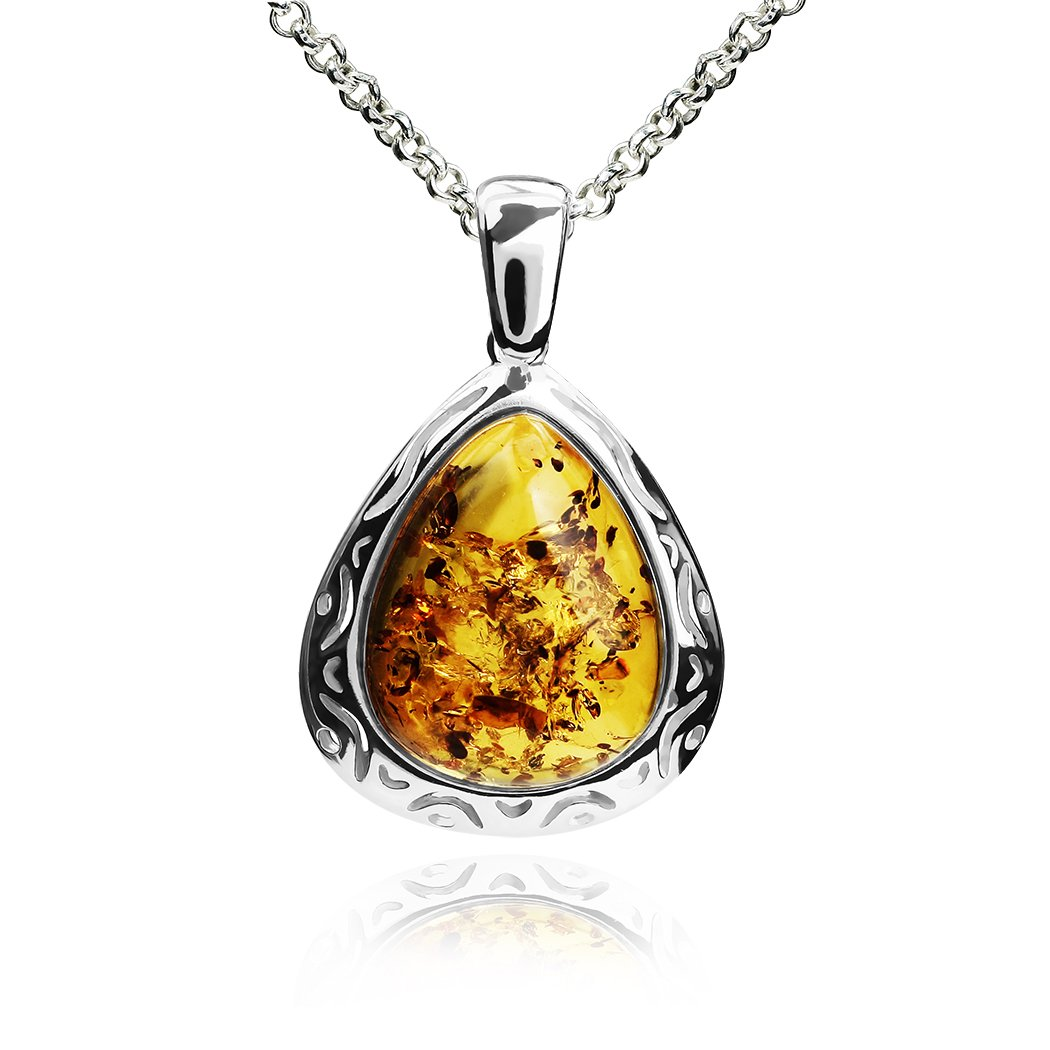 Ian and Valeri Co Amber Sterling Silver Victorian Pendant Necklace Chain 18