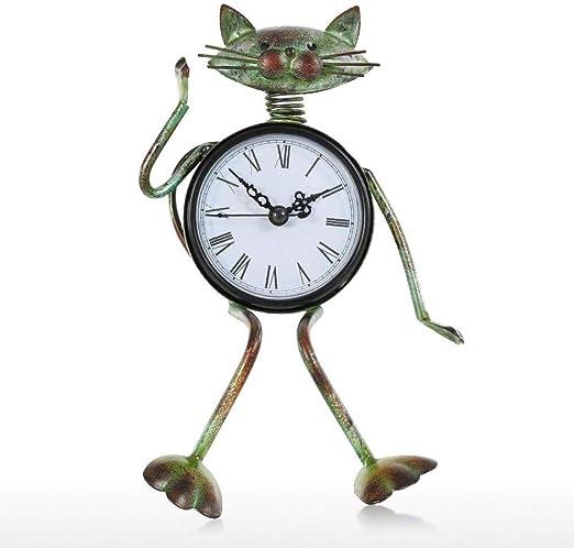 MIEUXO Escultura Reloj Vintage Metal Retro Gato Decoración del ...