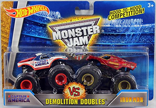 2016 Hot Wheels Monster Jam Demolition Doubles - Captain America Vs. Iron Man 1:64 Scale