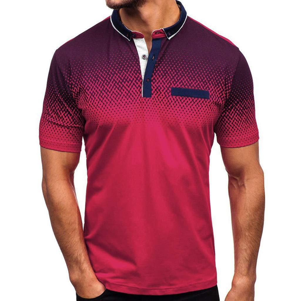 OrchidAmor 2019 Men's Gradient Stripe Splicing Pattern Casual Fashion Lapel Short Sleeve Shirt Red