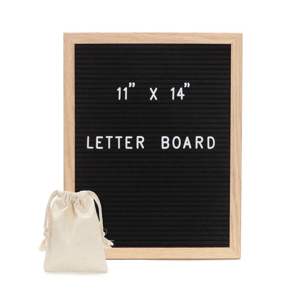 Felt Letter Board - Black Changeable Letter Board with Letters, Numbers & Lovely Emojis   Black Felt Board, Oak Wood Frame,Wall Mount & 1 Free Canvas Bags