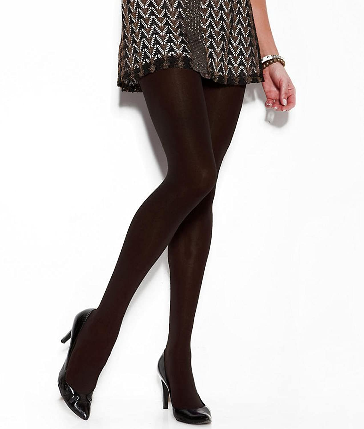 DKNY Opaque Tights 2-Pack, Plus Petite, Brown/Black