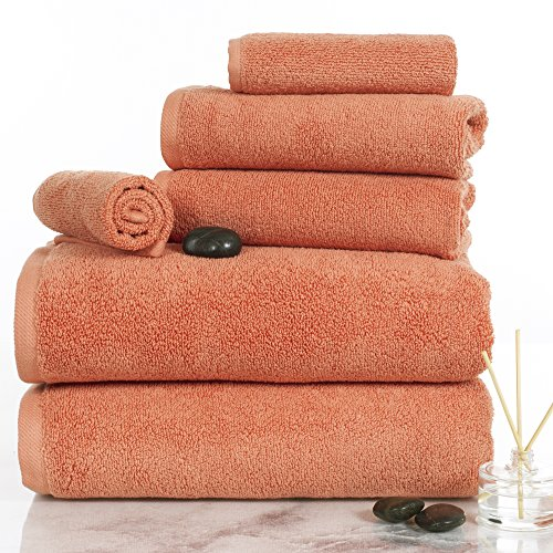 100 Percent Cotton Towel Set, Zero Twist, Soft and Absorbent 6 Piece Set With 2 Bath Towels, 2 Hand Towels and 2 Washcloths (Brick) By Lavish Home