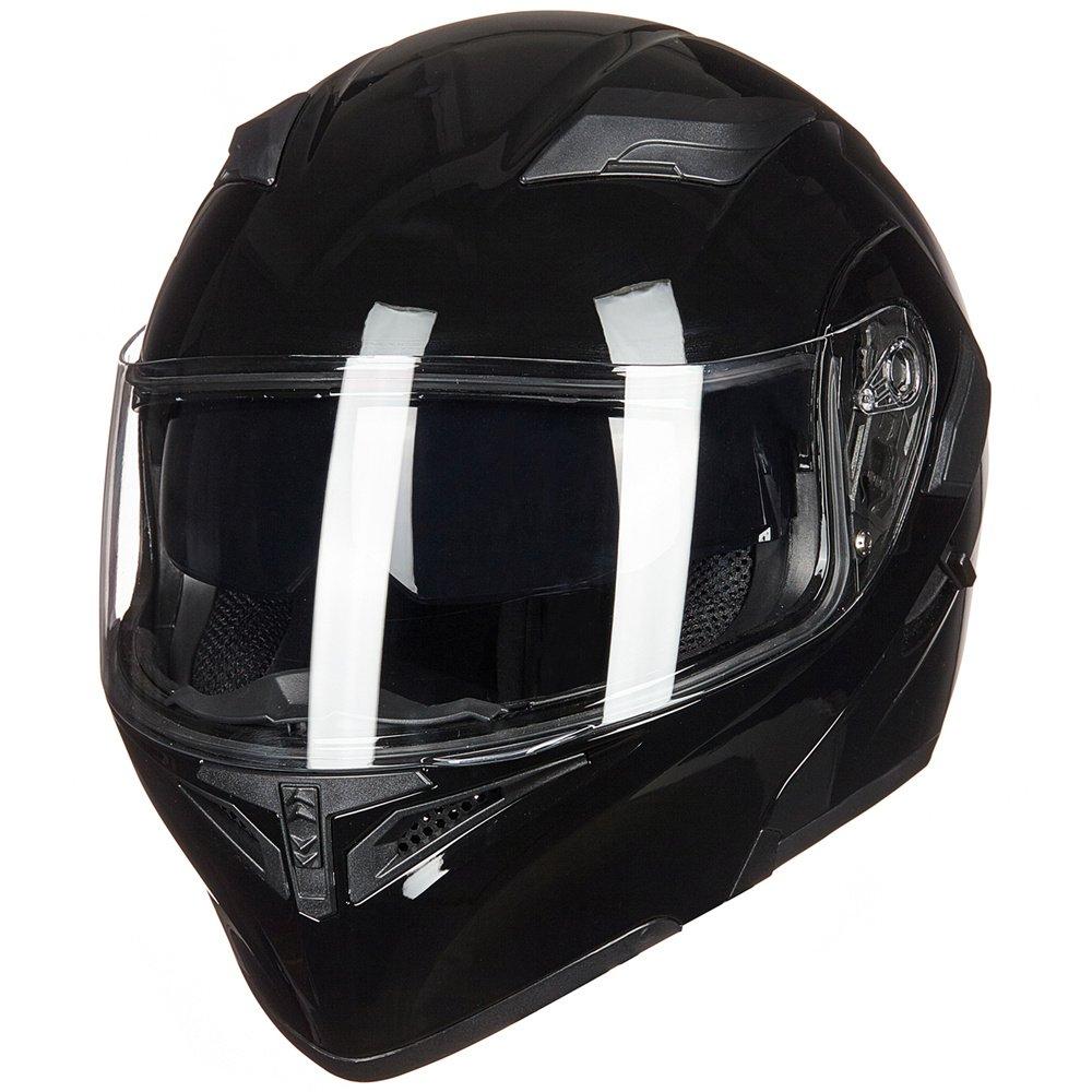 ILM Motorcycle Dual Visor Flip up Modular Full Face Helmet DOT with 7 Colors L, GLOSS BLACK