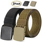 2 Pack Nylon Belts for Men Outdoor Military Web Belt Tactical Adjustable Belt with Plastic Buckle