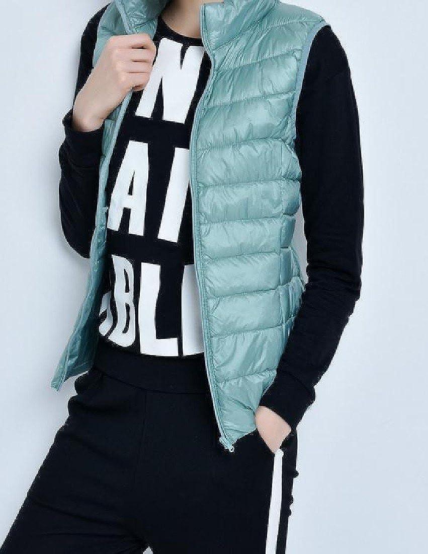 VividYouWomen VividYou Women Oversized Zipper Stand Collar With Pockets Down Vest Coat