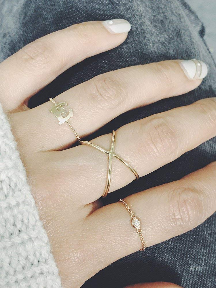 14k Solid Gold Simple Cross ring Skinny Cross Celebrity Inspired ring, x ring 14k Solid Gold Gold or Silver Solid gold Cross ring
