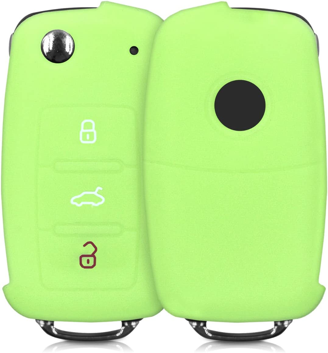 Silicone Protective Key Fob Cover Green kwmobile Car Key Cover Compatible with VW Skoda SEAT 3 Button Car Key