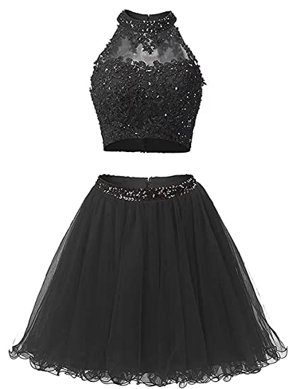 Vickyben Womens short two Pieces Applique Beaded Tulle Prom Dress Homecoming Dress Party Dress Ball Gown
