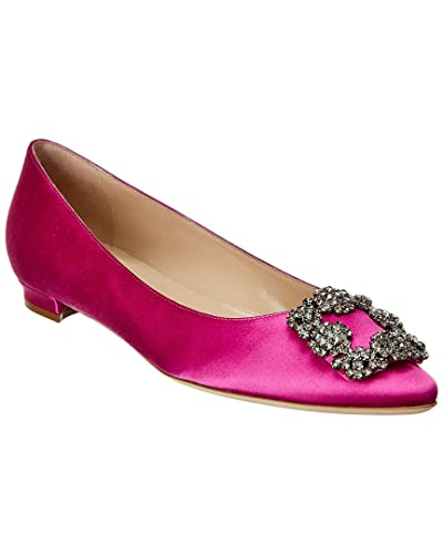 140f6aedefe2 Image Unavailable. Image not available for. Color  Manolo Blahnik Hangisi Satin  Ballerina ...