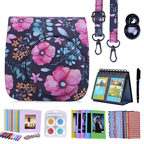 HDE Camera Case for Fujifilm Instax Mini 9 or 8/8+ Case and Accessories Kit Includes Leather Mini 9 Case and Strap Album Selfie Lens Photo Line Frames Borders Stickers Pen & More (Floral)