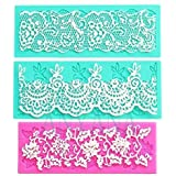 Anyana set of 3 sugar edible cake silicone fondant impression lace mat cake decorating mold gum paste cupcake topper tool icing candy imprint baking moulds sugarcraft trimming grape vine Scalloped