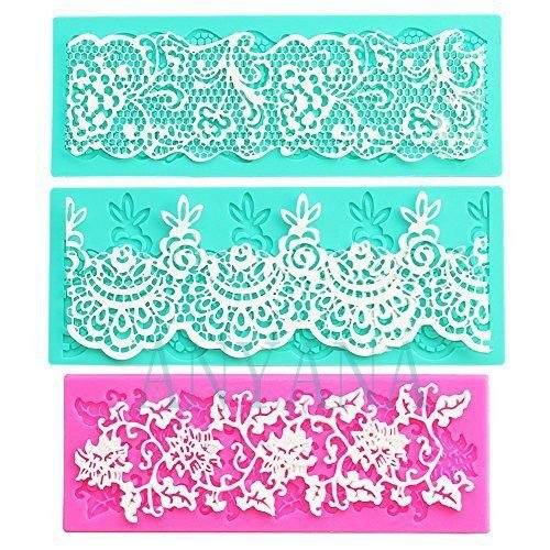 Clay Lace - Anyana set of 3 sugar edible cake silicone fondant impression lace mat cake decorating mold gum paste cupcake topper tool icing candy imprint baking moulds sugarcraft trimming grape vine Scalloped