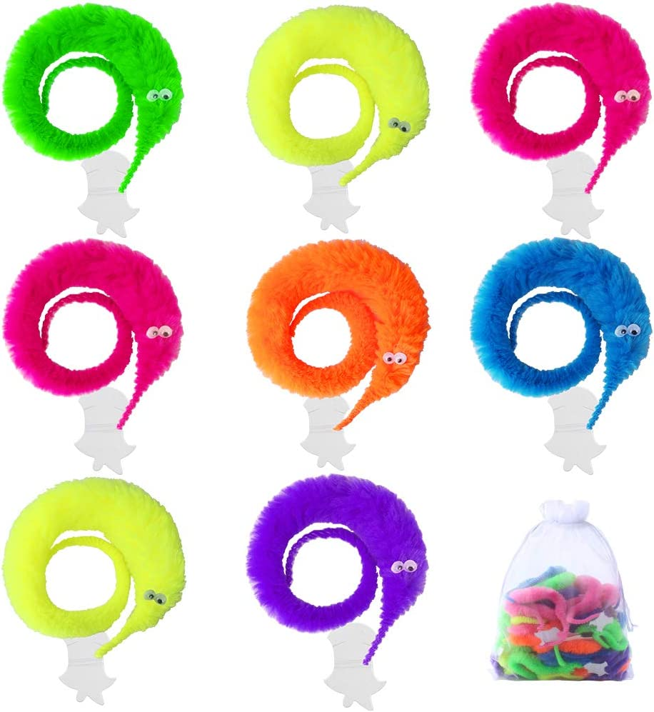 ONESING 19 Pcs Magic Worms Toys Wiggly Worms On String Twisty Fuzzy Worm Toys for Carnival Kid Party Favors