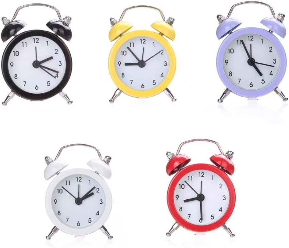Practical Twin Bell Silent Alloy Stainless Metal Alarm Clock Durable